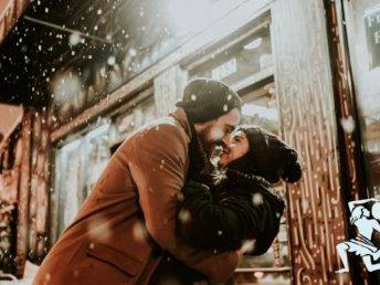 Couple embrace in winter